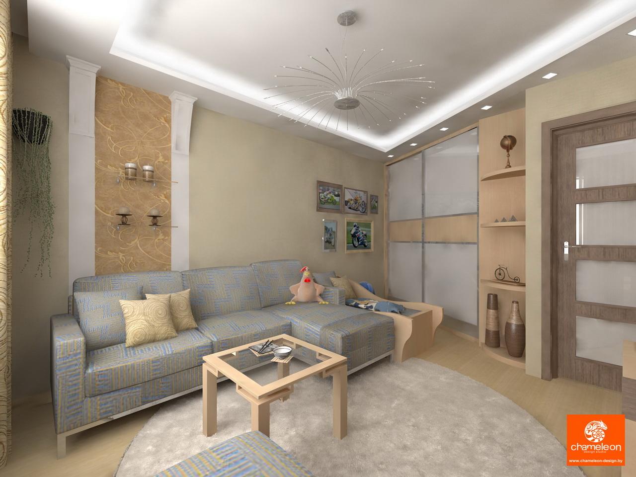 Дизайн в гостиной 18 метров